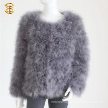 Cuello corto de mangas cortas de Turquía abrigo de pieles chaqueta chaqueta de pieles de plumas