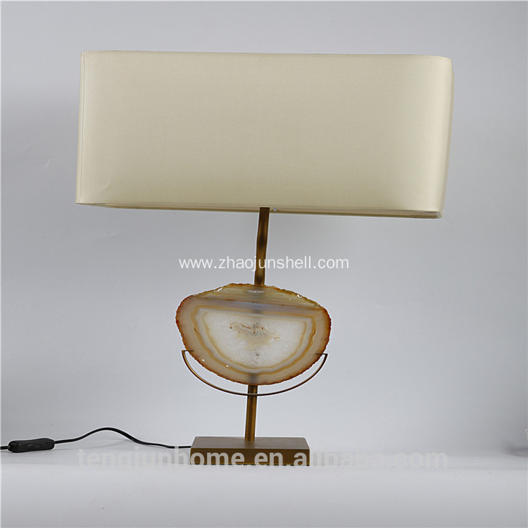 Canosa natural agate decor table lamp with metal pedestal