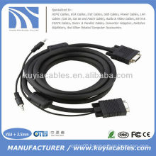 15PIN SVGA VGA Male to Male with Stereo 3.5mm Audio Cable Cord For PC TV