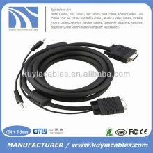 15PIN SVGA VGA между мужчинами и стереофоническим кабельным кабелем 3,5 мм для ПК
