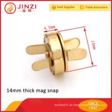 Broche de imán de metal de 14 mm, aleación de zinc fino / grueso broche de presión de alta calidad