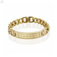 Bracelet chaine cubaine plaqué or vintage, bracelet manchette avec bijoux initiaux