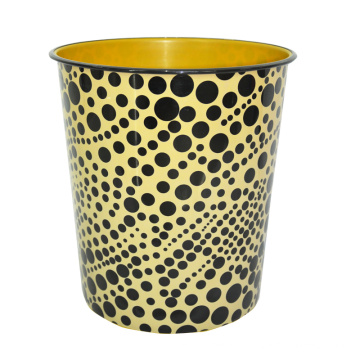 Plastic Black DOT Printed Open Top Waste Bin (A23-828)