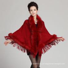Lady Fashion Triangular Acrílico De Malha Faux Fur Fringe Xaile (YKY4473)