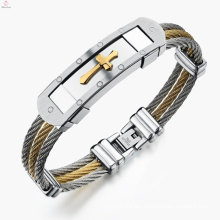 New Style Statement Jewelry Jesus Gold Stainless Steel Men Steel Cable Cross Bracelet