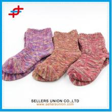 winter slub yarn cotton girls tube fuzzy thick sock for wholesales