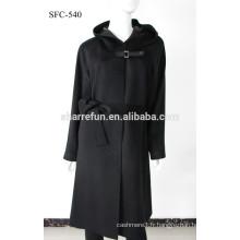 Usine en gros SFC-540 super elegangt dames pur long manteau en cachemire