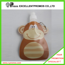 Customized Foldable Plastic Water Bottle with Stainless Steel Ring (EP-B125514)