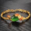 Mesdames Vintage Plaqué 18k Bracelet en or Agate Stone Peacock Bracelet