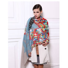 Wool and Silk blended Machine Hemmed Oblong Scarf