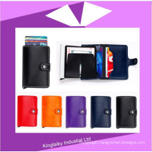 Stock Mini Wallet Genuine Leather RFID Business Cardholder Automatic Pop-up Card Case