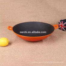 Vente chaude wok en fonte émaillée