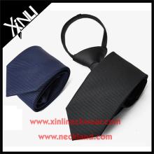 Polyester Navy Black Solid Elastic Neckties in Zipper School Tie