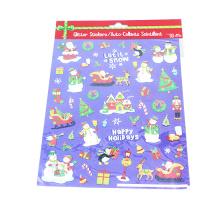 Wholesale Merry Christmas Vinyl dos desenhos animados Glitter Sticker