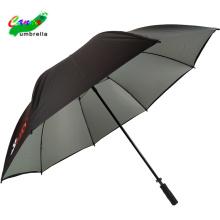 Silberne UV-Beschichtung Sonnenblock-Stick-Golf-Logo-Regenschirme, unzerbrechlicher Regenmantel-Ärmel-Port-Regenschirm