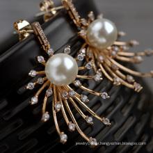 Großhandel in Alibaba Luxus vergoldet Jubiläum Geschenk Roségold vergoldeten Perle Ohrring in Kupfer