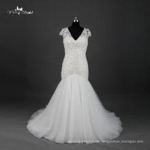 TW0173 Sehen Sie durch rückseitiges V-Ausschnitt Kappen-Hülse Alibaba Hochzeits-Kleid Meerjungfrau