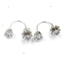 Beautiful Women Double Flower Shaped Silver Plated Stud Earrings