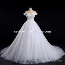 Beaded Appliqued cap sleeve Vestido de casamento branco vestido de noiva