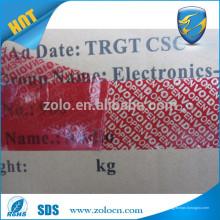 Heiße neue Importe gedruckte benutzerdefinierte Klebstoff offenen void Band insgesamt und teilweise Transferband für die Abdichtung