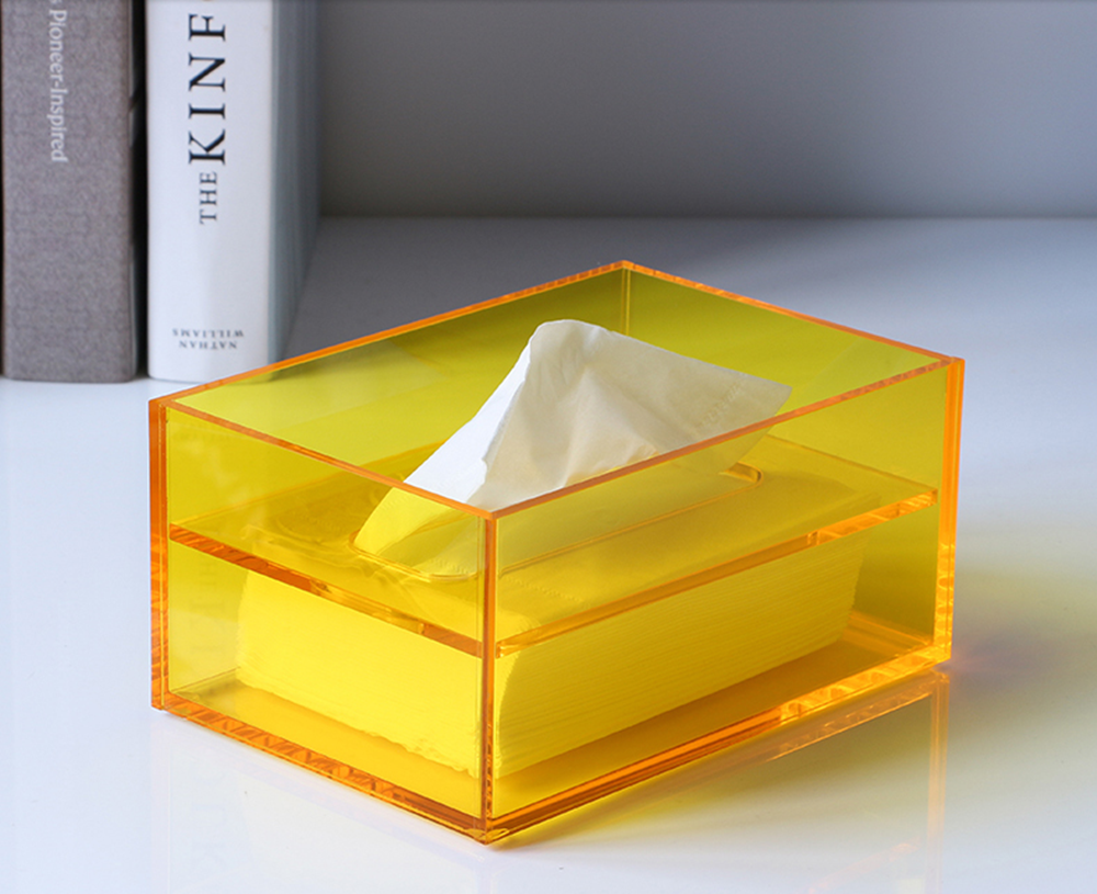 Acrylic Tissue Box Yellow