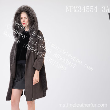 Wanita Winter Medium Hooded Fur Overcoat