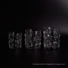 Transparent Thick Glass Candle Holders Set with Nailed Pattern
