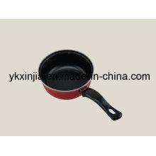 Utensílios de cozinha 16 centímetros de aço carbono vermelho pote de leite antiaderente