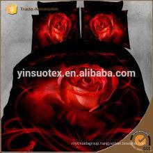 black night red red rose ,polyester bedding set