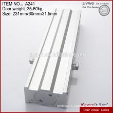 Multi-function square zinc alloy hidden door closers hardware