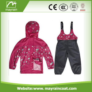 Waterproof Kids Raincoat Kidswear Ski PU Rainsuit