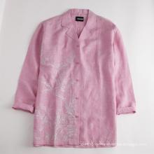 Damen Top Blusen Mittelarm Leinenhemd
