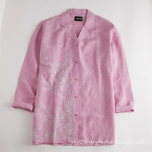 Women Top Blouses Middle Sleeve Linen Shirt