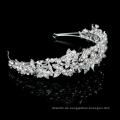 Handgemachte Silber Kristall Perle Braut Haarbänder Bling Blume Hochzeit Kopfbedeckung für Festzug