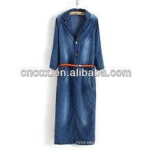 13CD1149 Maxi denim half sleeve women fashion dress