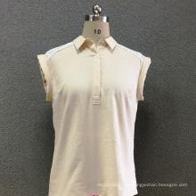 Camisa de mangas curtas rendas de linho das mulheres