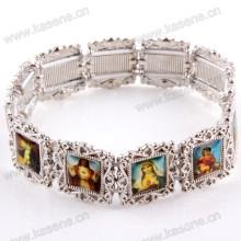 Красивый эластичный браслет из серебряного сплава со святыми картинками
