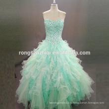 ЭД Свадебные изумрудно-зеленый Пром платья Паффи платье без бретелек милая бисером органзы платье