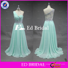 ED Bridal Nova moda Beautiful One Shoulder Covered Back Beaded Bodice Mint Green Colored Free Prom Dress 2017 Party Dress