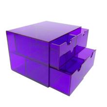 4-Set Clear Purple Cute Mini Makeup Nail Polish Box Acrylic Drawer Storage Organizer