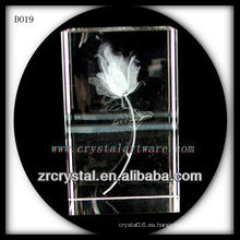 Rectángulo de cristal grabado K9 3D Laser Flower