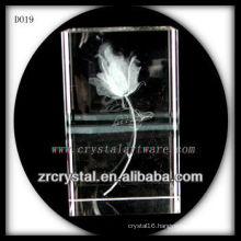 K9 3D Laser Flower Etched Crystal Rectangle