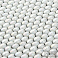 Polka Dots White Shiny Glass Mosaic Sheet