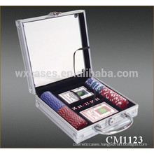 New arrival 100 aluminum poker chip acrylic case with a clear case lid