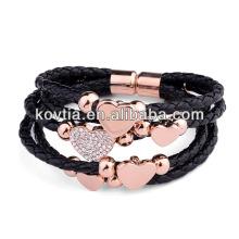 Bracelets en cuir unisex noir et féminin