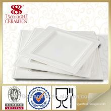 White Ceramic Square Plate For Restaurant, Porcelain Square Plate