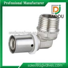 Vernickelte männliche Ellenbogen Messing Press Fittings für PEX-AL-PEX Rohr