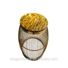 CANOSA желтый тигровый глаз с золотым журнальным столиком из нержавеющей стали