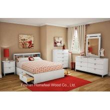 Conjunto de móveis para crianças de 3 peças ajustados em branco