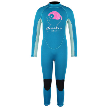 Combinaisons de surf Seaskin Girls Back Zipper de couleur bleue